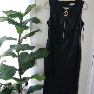 Calvin Klein faux leather zip front mini dress sz6